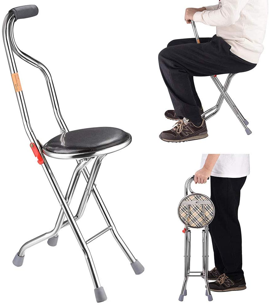 AW Medical Folding Walking Popular supreme shop is the lowest price challenge Stick Legged Portable with Seat Four