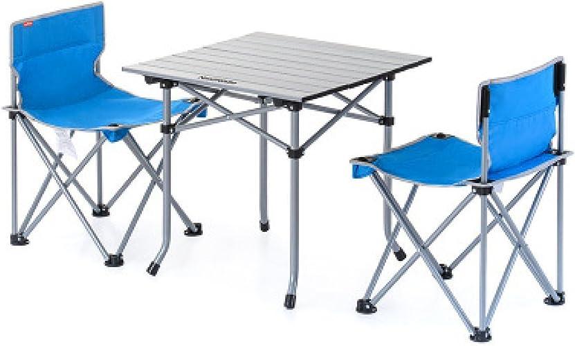 CHENGXIAOXUAN Extérieur Tables Pliantes Portables Et des Chaises Forfaits Combinés Trois Pièces Cinq Pièces Pique-Nique Barbecue Camping Set,bleuTableTwoChairs