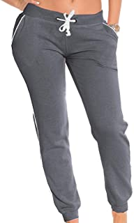 b3c5eab68 Coco-Limon Fleece Jogger Pants for Women - White Trim, Side Pockets, Long