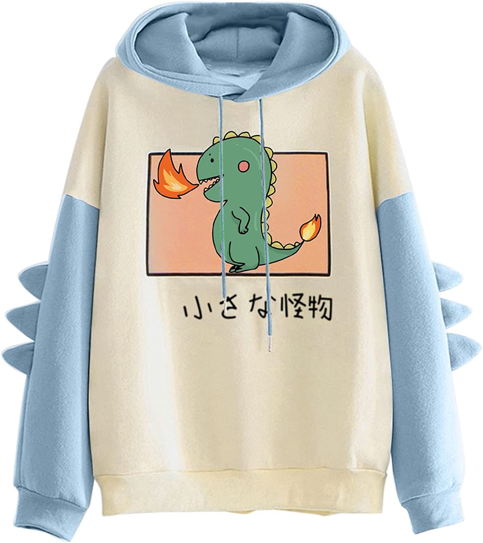 Dinosaur Hoodies for Women Casual Long Sleeve Shirt Fall Trend Sweatshirt Plus Size Tops for Women