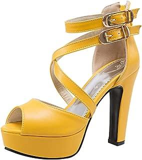 BeautyOriginal Womens Round Toe High-Heeled Platform Metal Decorative High Boots
