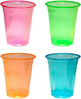 Northwest Enterprises Party Essentials N124060 Soft Plastic 12 oz. Party Cups and Tumblers, Assorted Neon, Multicolor