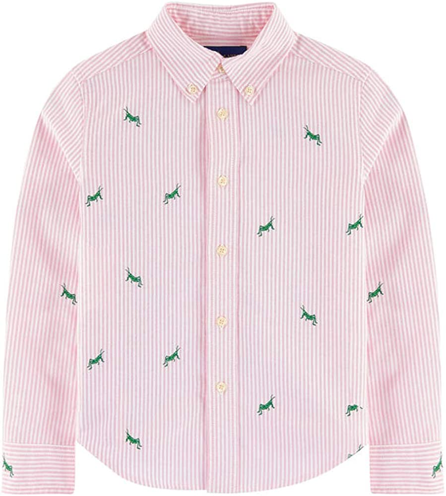 Polo Ralph Lauren Boys Embroidered Striped Oxford Long Sleeve Shirt 6 Pink
