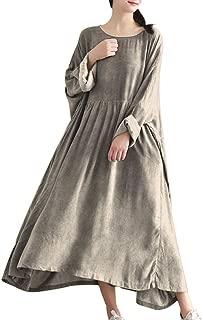YESNO TA7 Women Casual Maxi Caftan Dress Plus Size Large Loose Gathered Skirt Oil Dyed Long Bat-Wing Sleeve Crew Neck