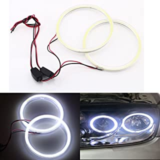 Qasim 1 Pair 90MM 66SMD COB LED for Angel Eyes Halo Ring Headlight Fog Housing Lamp with Cover White 12V 24V DC