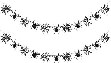 2Pcs Black Glittery Spiderweb Garland- Halloween Party Decorations,Halloween Spider Decor,Hanging Spider Web Banner Decor,...