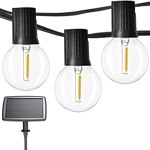 Sunlitec Solar String Lights Waterproof LED Indoor/Outdoor Hanging Lights with Bulbs - 27 Ft Patio Lights for Deckyar...
