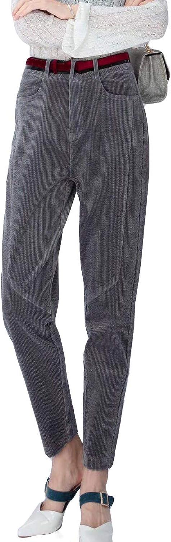 Gfsoediden High Waist Long Trouser Solid Stripe Pleated Women's Corduroy Pants with Pockets