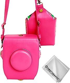 First2savvv rosado Calidad premium Funda Cámara cuero de la PU cámara digital bolsa caso cubierta con correa para Fujifilm Fuji Instax SQ10 + Paño de limpieza XJD-SQ10-02G11
