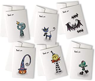 Halloween Thank You Cards Variety Pack - 24 Cute & Spooky Greeting Note Cards & Envelopes