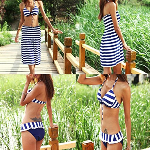 Distinct® dames marine&witte zebra 3-delige badpakken zwemkleding Bikini badpakken