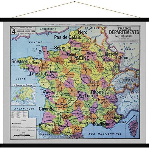 Blue Shaker Carte Ancienne 'France Départements