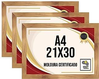 Kit 3 Porta Certificados 21x30 Moldura A4 para Certificado Foto Parede Mel