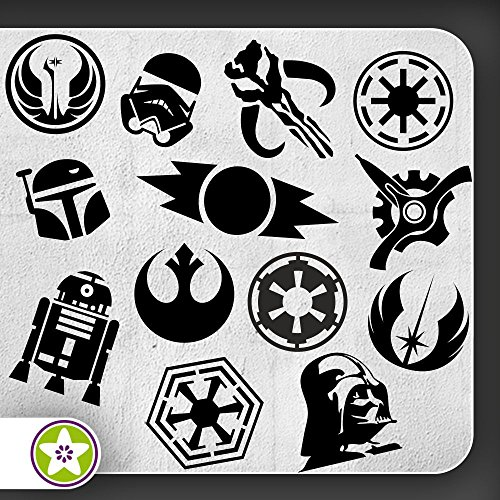 Kiwistar Sticker Bomb Set 07 - Bogengröße A4: Darth Vader, Imperium, Rebellenallianz, R2D2, Boba Fett, Alte Sith