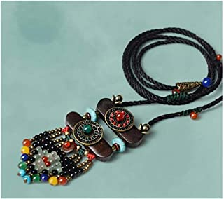 Necklaceboho Women Ethnic Stone Maxi Long Black Bohemian Pendant Vintage Rope Chain Fashion Jewelry-in Pendant