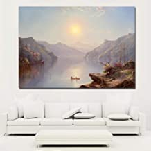 WPFZH Decorative art painting Young Man In Boat Lotus River Landscape Oil Painting Canvas Prints Picture For Bedroom Decor Wall Prints Poster-70x100cm