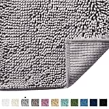 Grey Rugs for Bathroom Slip-Resistant Shag Chenille Bath Rugs Mat Extra Soft and Absorbent Bath Rug for Shower Room Machine-Washable Fast Dry (Grey, 17' x 24')