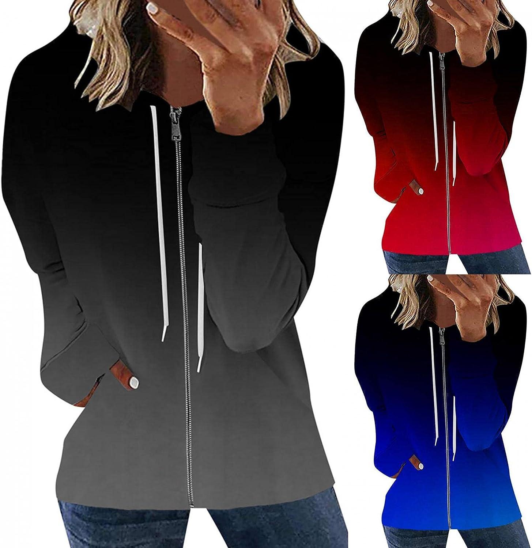 Oiumov Zip Up Hoodie Women Lightweight Long Sleeve Soft Hooded Sweatshirts Pullover Top Jacket Coats with Pockets