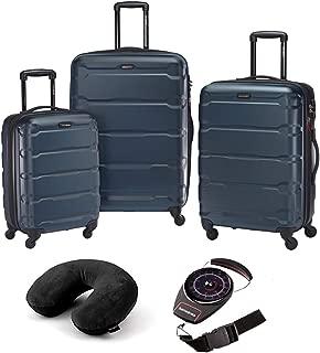 Omni Hardside Luggage Nested Spinner Set of 3 Teal with Travel Kit