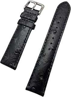 20mm Black Genuine Leather Watch Band | Beautiful Ostrich Grain, Medium Padded Replacement Wrist Strap That Brings New Life to Any Watch (Mens Standard Length)