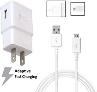 OEM Quick Fast Charger Compatible with Nokia Lumia 625 Cell Phones[Wall Charger+5 FT Micro USB Cable]-AFC uses Dual voltages for up to 50% Faster Charging!-Bulk Packaging-White