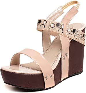 Feel it Comfortable Leatherite Casual/Formal Wedges Footwear for Women's & Girl's - 524-BLK,CRM-P
