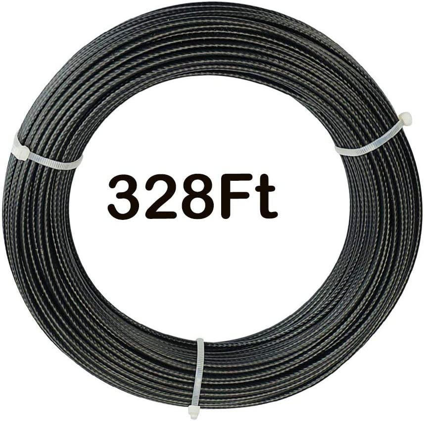 328Ft Stainless Steel Boston Mall 304 Black Wire 7x7 Str Coated Vinyl Rope Indianapolis Mall