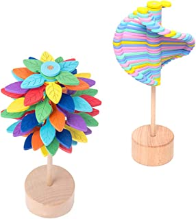 TOYANDONA 2pcs Lollipop Wood Rotating Lollipops Decompression Entertainment Creative Furnishings Toys with Base