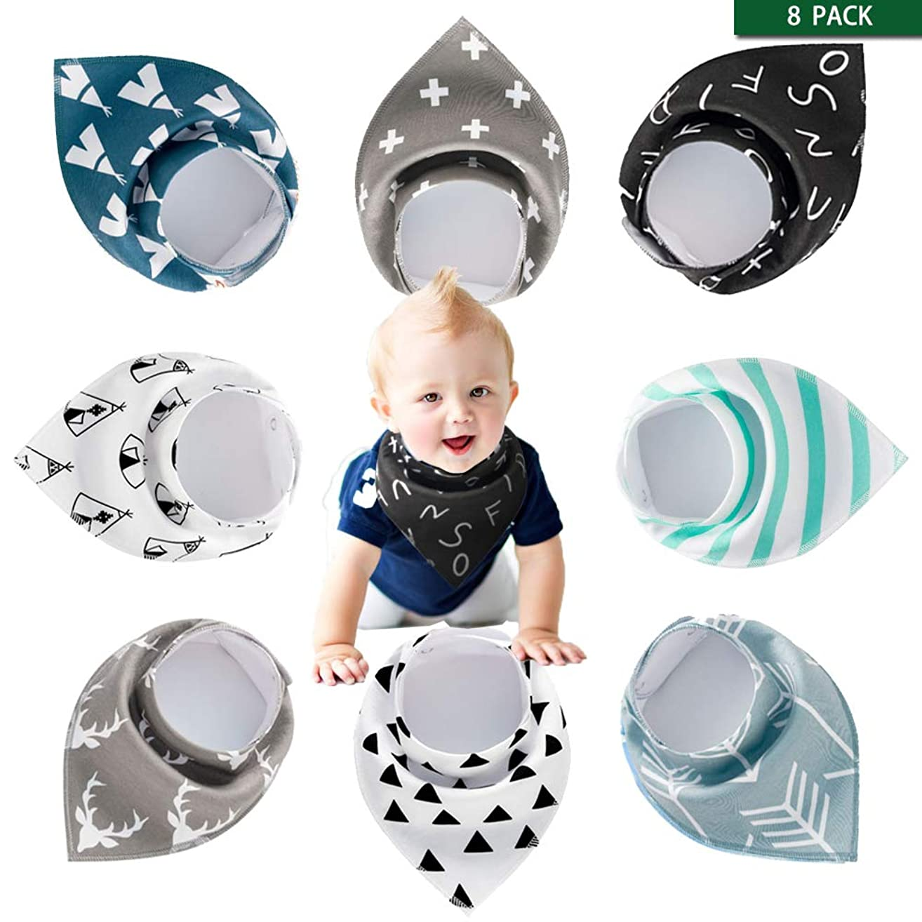 Baby Bibs Bandana 8 Pack Set for Toddler Boys and Girls Drooling and Teething, Organic Cotton and Super Absorbent Hypoallergenic Handkerchief Baby Shower Gift (Simple Style)