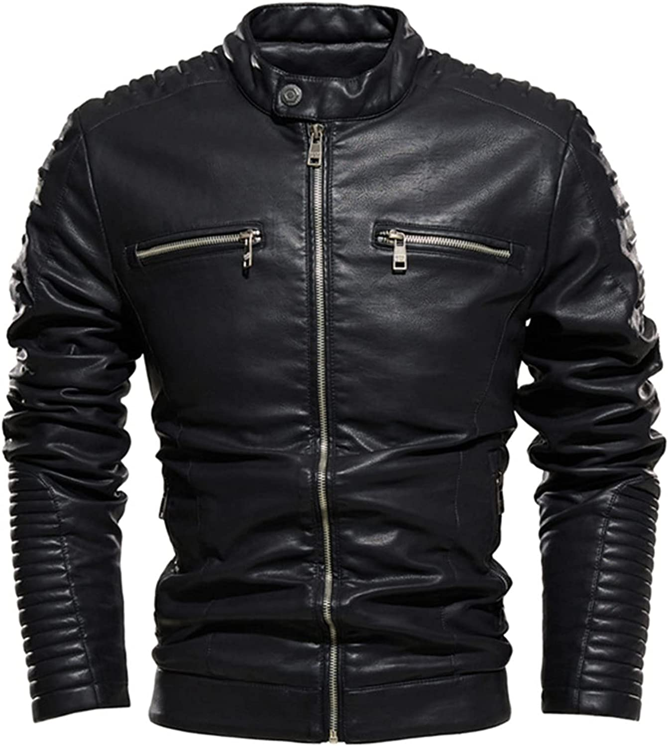 YUIJ Men's Casual Long Sleeve Faux Leather Coat,Slim-Fit Stand-Collar PU Jacket,for Outdoor Cycling, Racing, Etc.