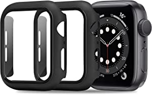 ULUQ Compatible with Apple Watch Series 6/5 /4 /SE 40mm Case with Glass Screen Protector ,2 Pack Full Coverage Hard Cover with Defence Edge for Apple Watch Accessories (Black)