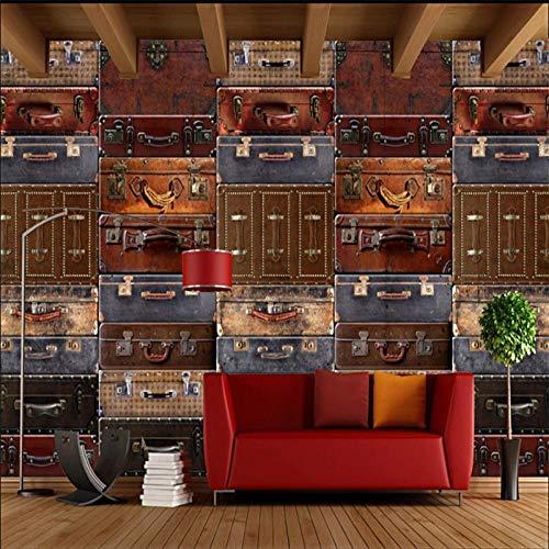 LXiFound Papel Pintado Autoadhesivo - Estilo Europeo Retro Maleta De Cuero Puzzle - Papel Tapiz Fotográfico Con Efecto 3D Mural Papel Pintado Murales Pared Papel Para Pared Foto Mural Pared Decorativo