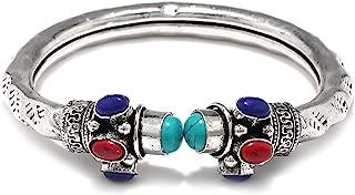 German Oxidised Silver Tribal Kada with Stone Antique Design Indian Polki Kada Bangle Bracelet for Women and Men