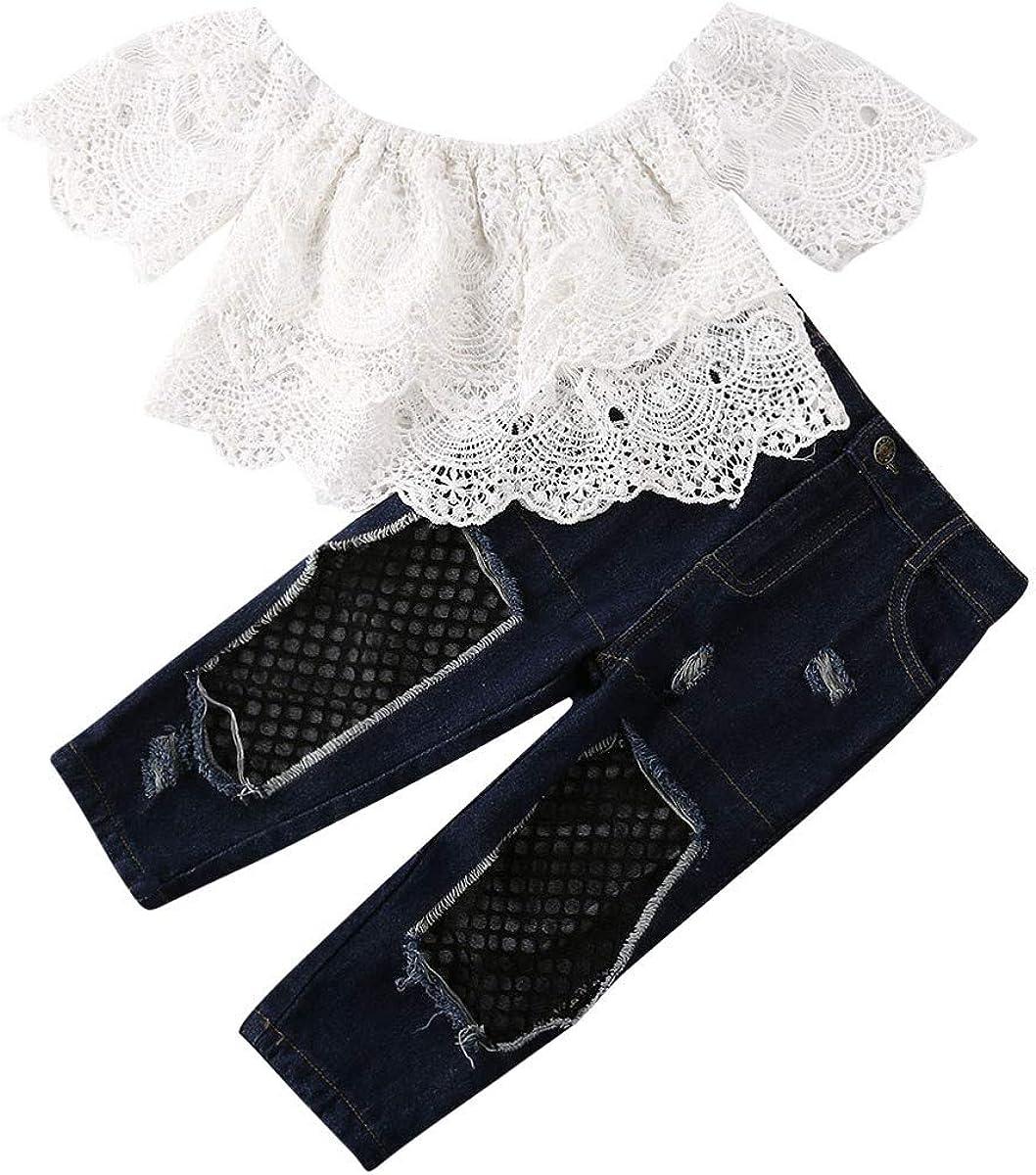 2Pcs Set Fashion Toddler Max 80% OFF Kids Baby cheap Top+Floral Girl Denim T-Shirt
