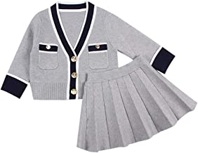Willsa Baby Girl Clothes, Toddler Kids Knitted V Neck Cardigan Tops Sweater Coat+Pleated Skirt Outfits Set