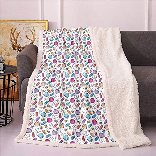 SeptSonne Purple Fleece Blanket,Stitching Sewing Dressmaking Related Colorful Thread Needle Spool Drawings Flannel Bed Blankets,Warm Blanket(40x50 Inches,White and Multicolor)