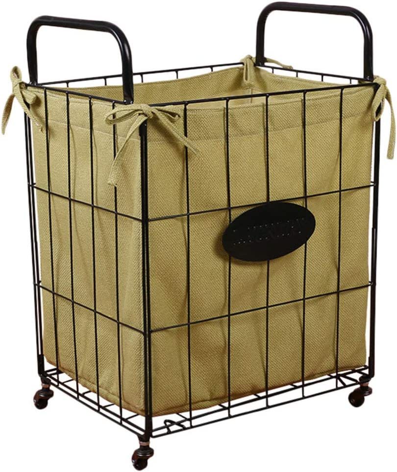HEMOTON Laundry Sorter Hamper Las Vegas Mall Metal and Super special price Cart Wheels with Rolling