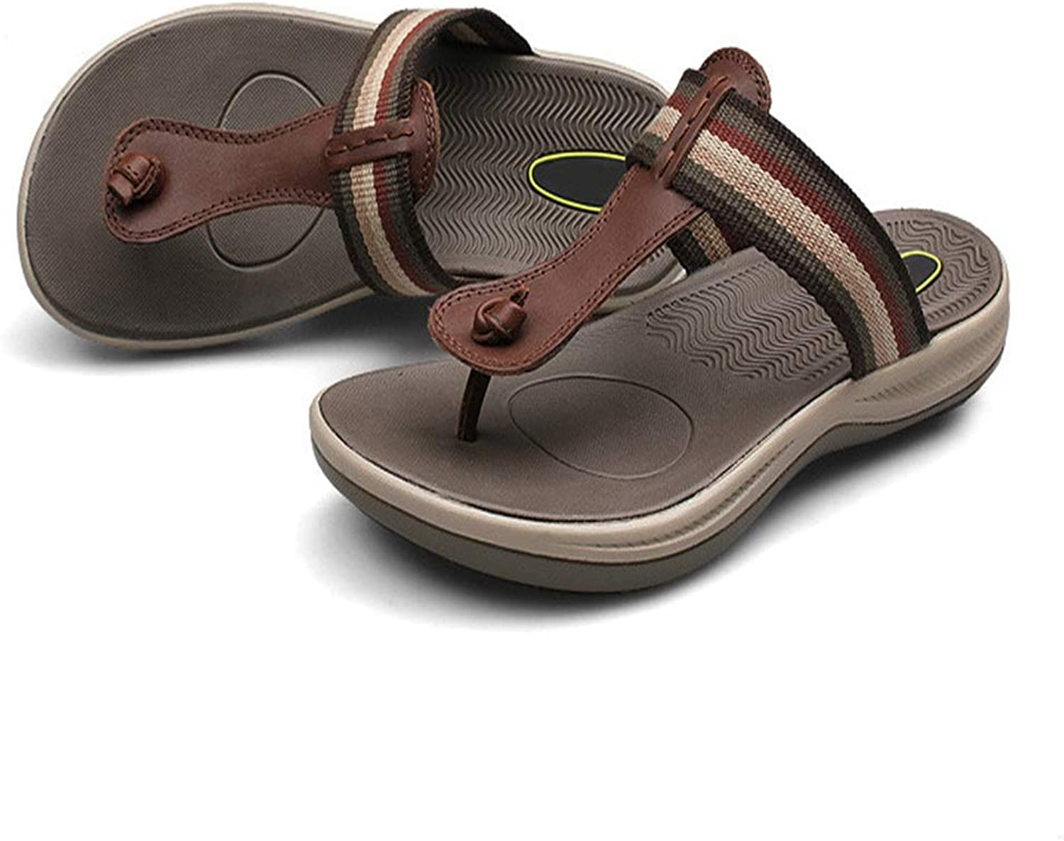RONGLINGXING Fashion Summer Outdoor Casual Flip Flop For Man Outdoor Beach Comfortable Slippers Cloth Leather Upper Non-slip Flat Sandals Lightweight Breathable (color   Brown, Size   9.5 UK)