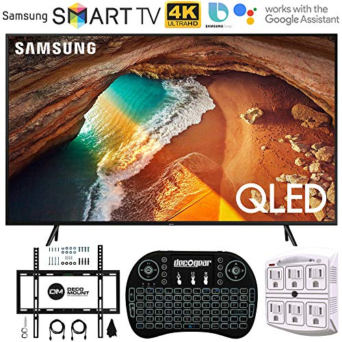 Samsung QN55Q60RA 55' Q60 QLED Smart 4K UHD TV with 1 Year Warranty (2019 Model)(Renewed) Flat Wall Mount Bundle with Deco Gear 2.4GHz Wireless Keyboard Smart Remote and 6-Outlet Surge Protector