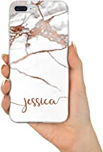 TULLUN Personalized Individual Rose Gold Marble ET Name Initials Text Custom Flexible Soft Gel Phone Case Cover for iPhone Models - Horizontal Name - for iPhone 7 Plus / 8 Plus