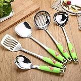 YIBOKANG 1 set 6pc duradero portátil de acero inoxidable sin palanca wok spatula cuchara herramientas de cocina utensilio de cocina utensilios de cocina espátula