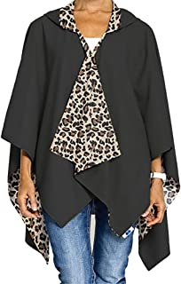 RainRap Womens Fashion Water Resistant Lightweight Hooded Wrap - BLACK & LEOPARD