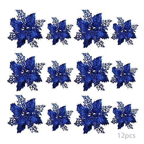 TDCQ 12pcs Fiori Artificiali Natalizi,Christmas Glitter Poinsettia,Stelle di Natale Fiori Artificiali Rosse,Poinsettia Artificiale,Stelle di Natale Fiori Artificiali,Christmas Glitter (Blu)