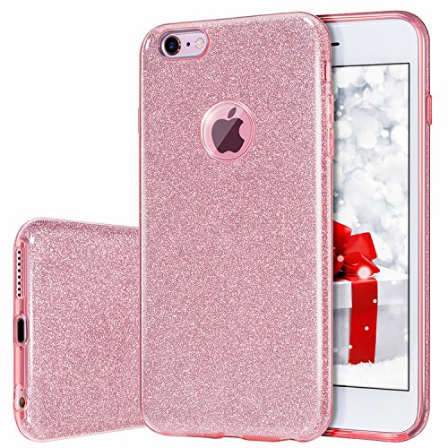 MILPROX Compatible iPhone 6S, iPhone 6, Shiny Glitter CASE [Bling Crystal Clear][Extremely Sparkly], Slim Premium 3 Layer Hybrid, Anti-Slick/Protective/Soft Case- 4.7 Pink