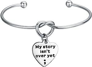 KUIYAI My Story Isn't Over Yet Bracelet with Tie The Knot Cuff Mental Health Awareness Jewelry