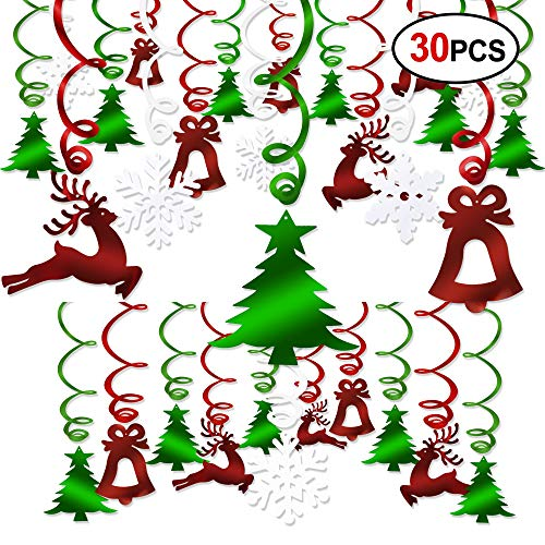 Christmas Hanging Swirl Decoration Kit(30pcs), Konsait Merry Christmas Swirls Garland Green Red Foil Hanging Ceiling Decoration for Xmas Winter Wonderland Holiday Ugly Christmas Sweater Party Decor Supplies