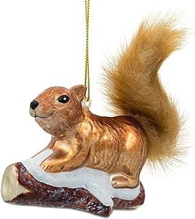 BestPysanky Squirrel on Snowy Branch Glass Christmas Ornament