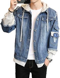 Showlovein デニム ジャケット メンズ パーカー フード 付き Gジャン アウター ヒップホップ ストリート コート 原宿風 春秋 カジュアル ファッション