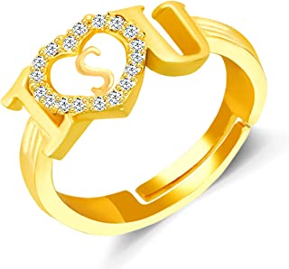MEENAZ Valentine's Collection Non-Precious Metal Brass and Cubic Zirconia Ring for Women