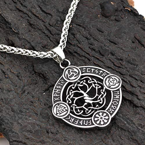Nordic Viking Odin Triangle Logo Rune Runa Patroon Tree of Life Titanium Stalen Ketting Hanger Sieraden Gift Voor Verjaardag Father's Day Thanksgiving